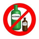 在白色背景隔绝的没有酒精标志 标志和标志 免版税库存照片