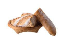 在白色背景隔绝的法国白色长的长方形宝石面包 免版税图库摄影