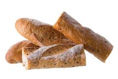 在白色背景隔绝的法国白色长的长方形宝石面包 库存照片