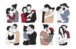 在白色背景隔绝的浪漫夫妇的汇集 套男人和妇女画象拥抱的爱的,拥抱 免版税图库摄影