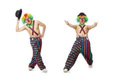 在白色背景隔绝的滑稽的小丑 图库摄影