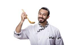 在白色背景隔绝的滑稽的男性厨师 免版税库存图片