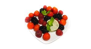 在白色背景隔绝的点心各种各样的莓果 库存图片
