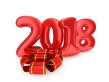 在白色背景隔绝的玩具气球 新年好2018年 库存照片