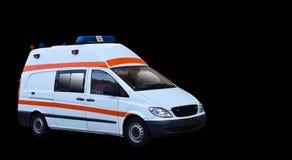 在白色背景隔绝的现代救护车紧急状态 免版税库存照片