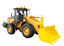 在白色背景隔绝的现代黄色装载者推土机挖掘机建筑机械设备 库存照片
