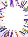 在白色背景隔绝的画象抽象五颜六色的棍子框架 库存照片