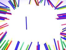 在白色背景隔绝的画象抽象五颜六色的棍子框架 免版税库存图片
