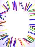 在白色背景隔绝的画象抽象五颜六色的棍子框架 免版税图库摄影