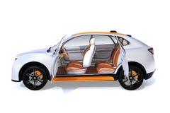 在白色背景隔绝的白色电SUV概念汽车侧视图  向量例证