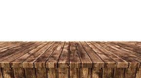 在白色背景隔绝的空木台式, 库存照片
