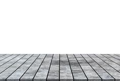 在白色背景隔绝的空木台式 免版税图库摄影