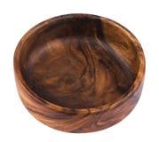 在白色背景隔绝的空的木碗 免版税库存照片