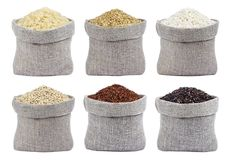 在白色背景隔绝的米的不同的类型 免版税库存照片