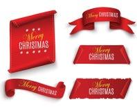 在白色背景隔绝的红色现实详细的弯曲的纸圣诞快乐横幅 也corel凹道例证向量 库存照片