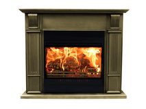 在白色背景隔绝的经典棕色灼烧的壁炉 免版税库存图片