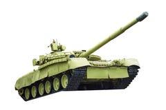 在白色背景隔绝的绿色坦克 库存照片