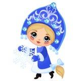 在白色背景隔绝的美丽的少女雪未婚 俄国民间传说字符  圣诞节剪影  向量例证