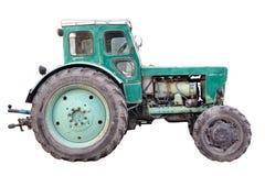 在白色背景隔绝的老拖拉机 免版税库存照片