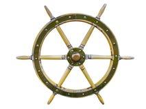 在白色背景隔绝的葡萄酒木船方向盘船舵 老船葡萄酒,在丝毫隔绝的木方向盘 库存图片
