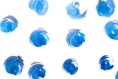 在白色背景隔绝的蓝色水彩圈子 紫色 库存图片
