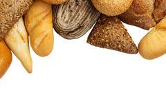 在白色背景隔绝的被分类的面包 免版税图库摄影