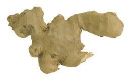 在白色背景隔绝的被对分的姜姜officinale根茎 免版税库存照片