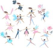 在白色背景隔绝的设置美丽的跳舞的神仙和矮子 设计开花昆虫夏天向量 织品的,纸不尽的印刷品 库存例证