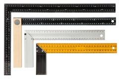 在白色背景隔绝的设置钢构筑的角尺 免版税库存图片
