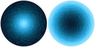 在白色背景隔绝的设置2个明亮的抽象蓝色和深蓝辐形梯度圈子 与圆映象点块的纹理 v 向量例证
