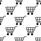 在白色背景隔绝的购物车无缝的样式 平的设计传染媒介 免版税库存照片