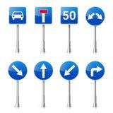 在白色背景隔绝的路标收藏 公路交通控制 车道用法 中止和出产量 交通管理标志 免版税图库摄影
