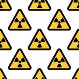 在白色背景隔绝的辐射警报信号无缝的样式 库存图片