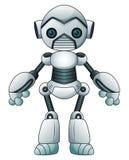 在白色背景隔绝的逗人喜爱的动画片机器人 库存照片