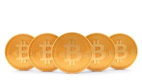 在白色背景隔绝的金黄bitcoin, 3D翻译 免版税图库摄影