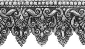 在白色背景隔绝的银色雕刻 泰国的样式 图库摄影