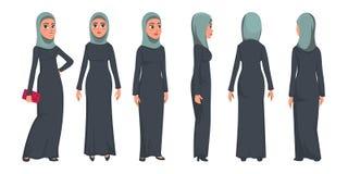 在白色背景隔绝的阿拉伯回教妇女字符 佩带传统衣物前面,后方,侧视图的回教妇女 ?? 库存例证