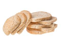 在白色背景隔绝的鲜美被切的新鲜面包片 库存图片