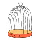 在白色背景隔绝的鸟的笼子 略图画了与刷子和墨水 设计图表元素是 向量例证