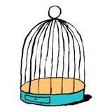 在白色背景隔绝的鸟的笼子 略图画了与刷子和墨水 设计图表元素被保存 库存例证