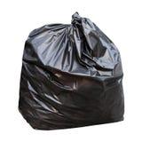 在白色背景隔绝的黑垃圾废物袋子 免版税库存图片
