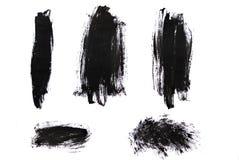 在白色背景隔绝的黑油漆冲程 免版税库存图片