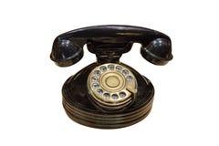 在白色背景隔绝的黑葡萄酒电话 库存图片