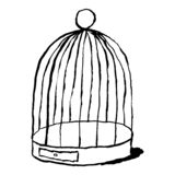 在白色背景隔绝的黑鸟笼 略图画了与刷子和墨水 设计图表元素是 向量例证