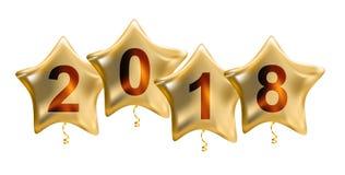 在白色背景隔绝的2018个新年颜色光滑的氦气气球 免版税库存图片