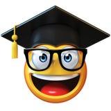 在白色背景隔绝的Emoji研究生,意思号佩带的毕业盖帽3d翻译 免版税库存照片