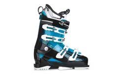 在白色背景隔绝的Profesional蓝色滑雪靴 库存图片