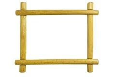 在白色背景隔绝的一个土气松木画框 免版税库存照片