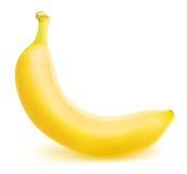 在白色背景隔绝的一个成熟香蕉 库存图片