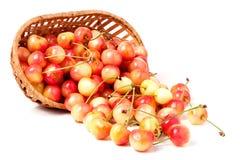 在白色背景隔绝的一个柳条筐的黄色樱桃 免版税库存图片